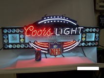Vintage Coors Lighted Neon Bar Nfl Football Sign
